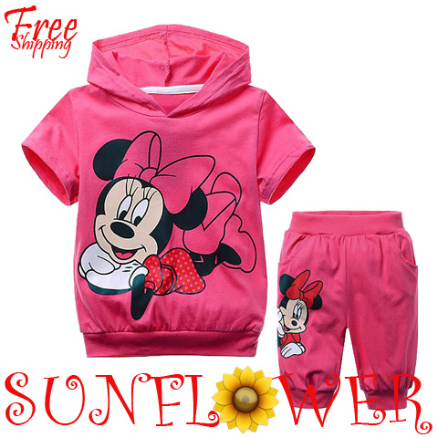 Girl's 2013 Summer Clothing Sets Cartoon Minnie Mouse 2PC sets Short Sleeve Cotton Hoodie Sports Suit Free Shipping