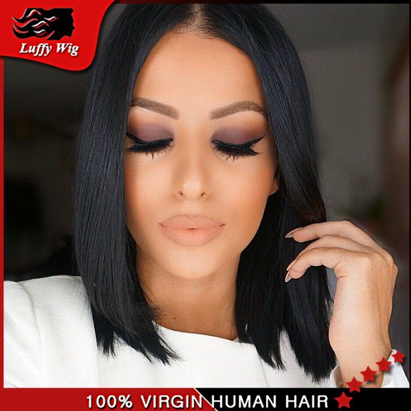 Layered Human Hair Short Bob Wigs/Glueless Lace Front Human Hair Bob Wig/Full Lace Short Wigs With Middle Part  For Black Women