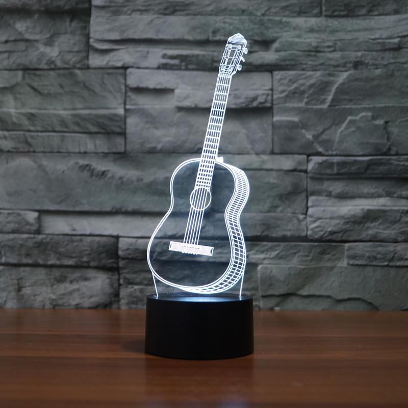 Creative 3D Visual Ukulele guitar Model Illusion Lamp LED 7 Color changing Novelty Bedroom Night Light Music Home decor IY803358(China (Mainland))