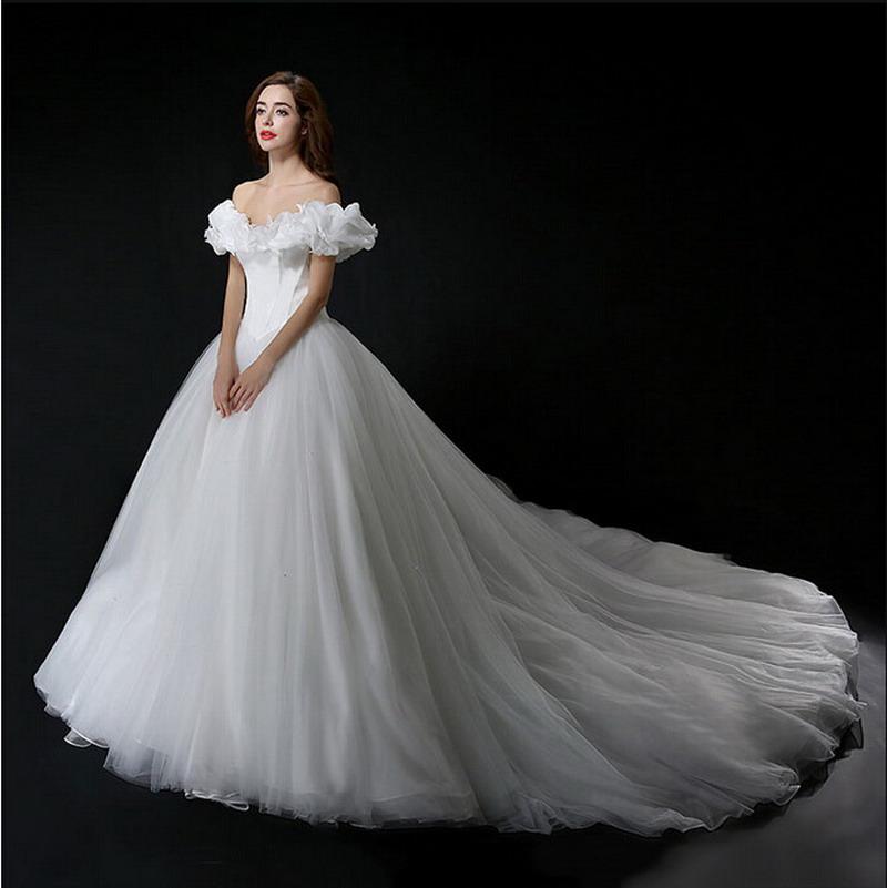 Wedding Dresses Real : Real photo cinderella wedding dress off shoulder princess bridal gown