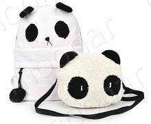 2PC/SET Hot Cartoon Panda Backpack Fashion Panda bag Casual Women Backpack Student School Bag Big and Small Panda Bags A4B419-51(China (Mainland))