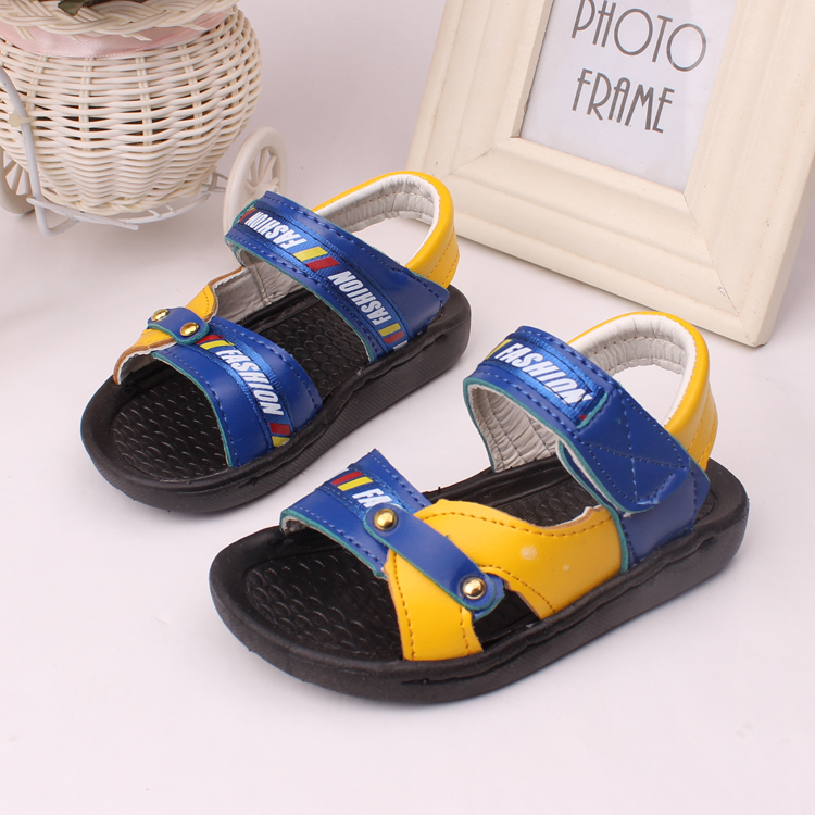 free shipping summer 1~3 years old boys sandals children shoes boys open toe 2 colors soft buttom soft leather ankle-wrap shoes(China (Mainland))