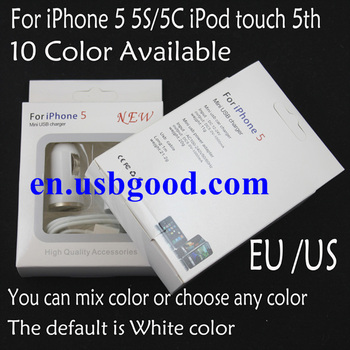 10set/lot colorful 3 in 1 charger USB cable & US/EU wall charger & car charger for iphone 5 5C/5S free shipping