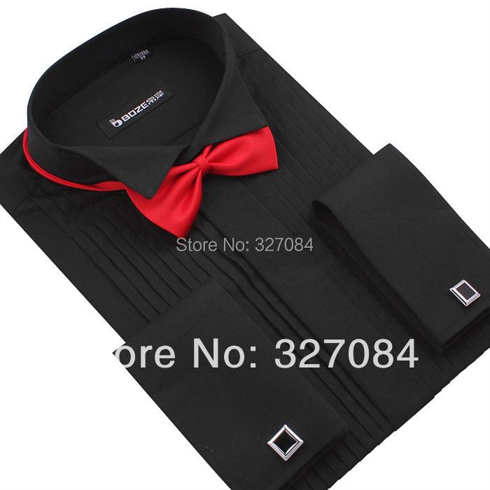 2015 Wedding blouse Mens tuxedo shirts bow tie free Slim fit Classic black Long sleeve big size 4xl - P&R Fashion Store store