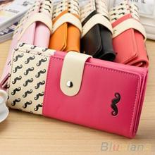 Women Mustache Long Clutch Purse Bag Hasp Snap Faux Leather Wallet Card Holder  1WCT(China (Mainland))