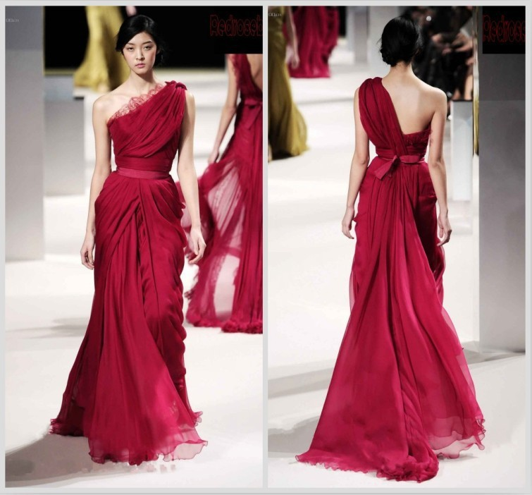 Best Selling Red Chiffon Evening Gown Dress For Prom