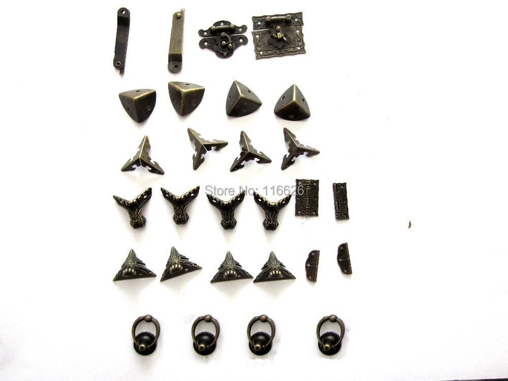 Гаджет  Free shipping Antique brass finish jewelry box/wooden box hardware DIY set angle cover+stand feet+lock+hinge kit None Мебель