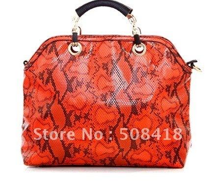 2012 vintage orange serpentine pattern genuine leather handbag messenger bag female bags