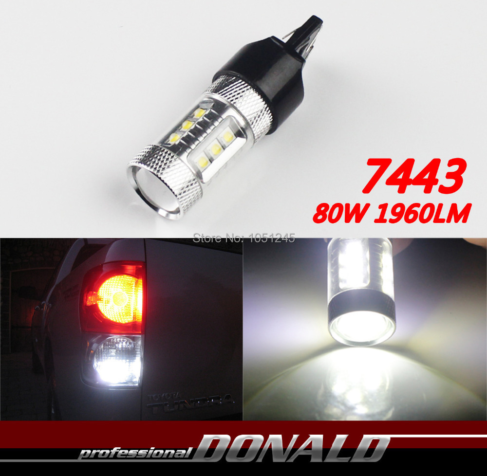 2x 7443 7440 T20 80W High Power Cree Xenon White Led Car Auto Reverse Backup Turn Singal Corner Light W/ Projector Lens 1960LM(China (Mainland))