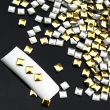 2015 New Fashion 300Pcs Nail Sticker Blinking Gold Silver 3D nail art decorations rhinestones Rivet Nail