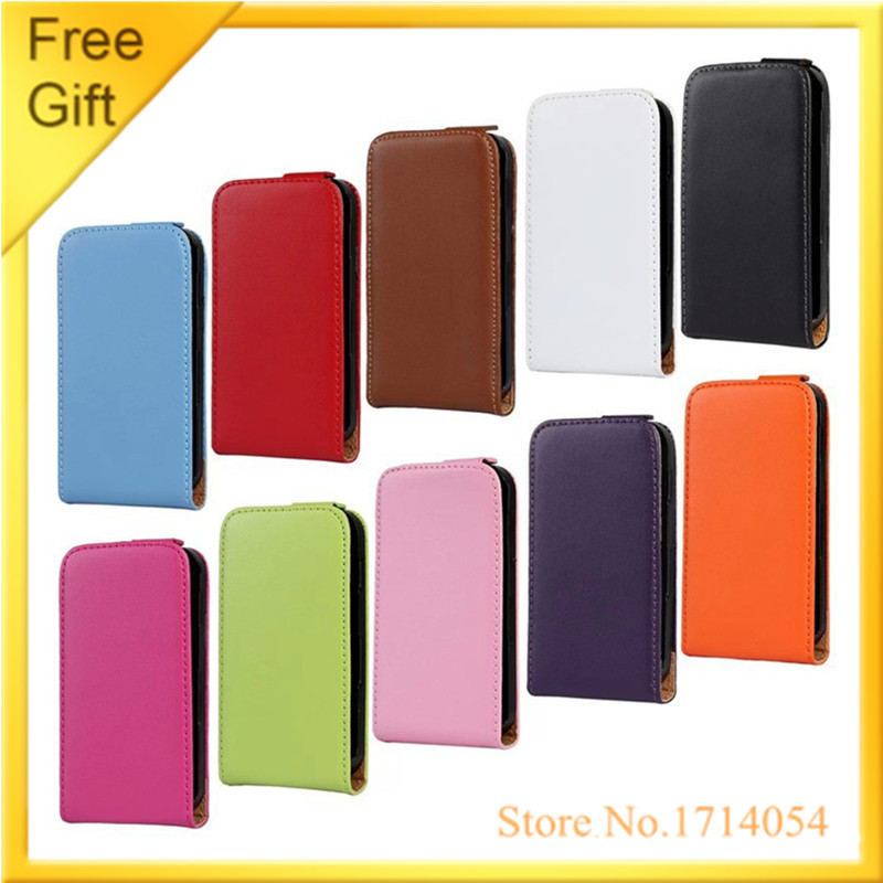 Luxury Genuine Leather To Flip Up And Down Mobile Cell Phone Cover Case For Samsung Galaxy Ace S5830 S5830i Back Case With+Gift(China (Mainland))