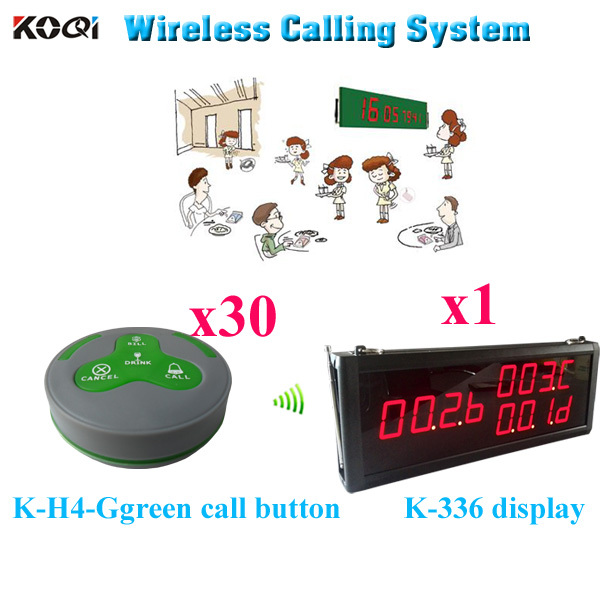 Waiter Paging System Wholesale Price Waiter Pager For Customer Service Improved Restaurant Level (1 display 30 call button)(China (Mainland))