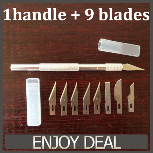 9 Blades Wood Carving Tools Fruit Food Craft Sculpture Engraving Hobby Knives DIY Cutting Tool Mobile Phone Laptop PCB Repair(China (Mainland))