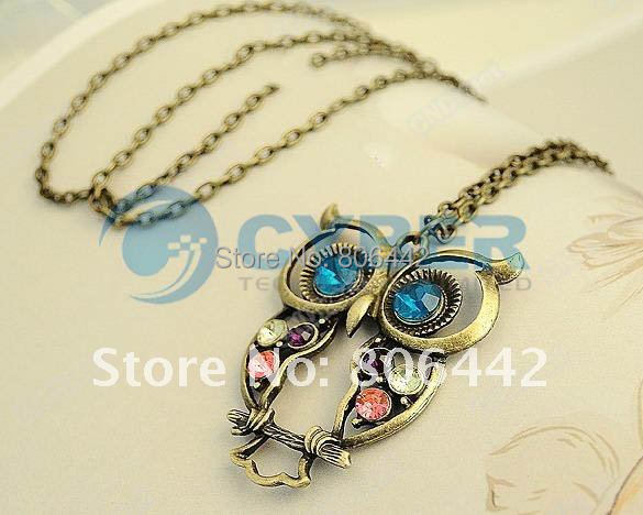 New Fashion jewelry Vintage Nice Charm Crystals Owl Pendant Long Chain Woman Necklace Retail & Wholesale