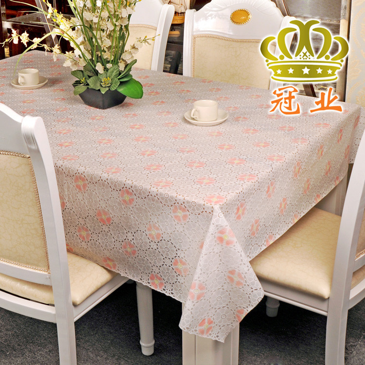 Free Shipping Printed white table cloth 0.1mm thick Luxury flower home decoration 3 colors Table cover(China (Mainland))