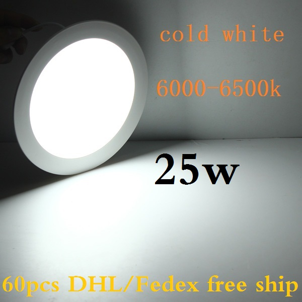 DHL 60 pcs 25W led panel lights round recessed smd led ceiling spot panels lighting bulb warm white/natural white/cold white(China (Mainland))