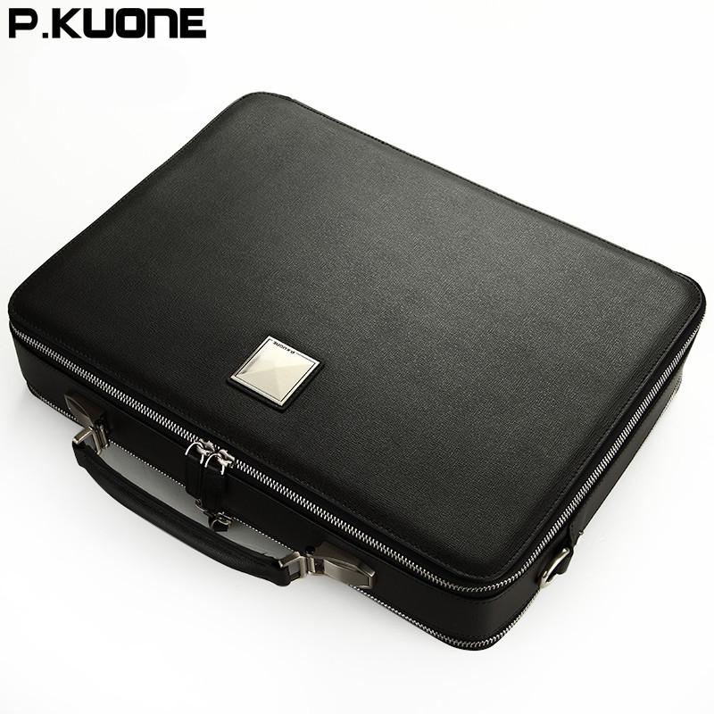 2015 New designer brand handbag business men briefcase laptop bag big capacity male shoulder bag genuine leather men travel bags(China (Mainland))