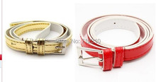 Hot Sale Multi Color PU Leather Thin Women Belt metal buckle wild Casual Belts PY43