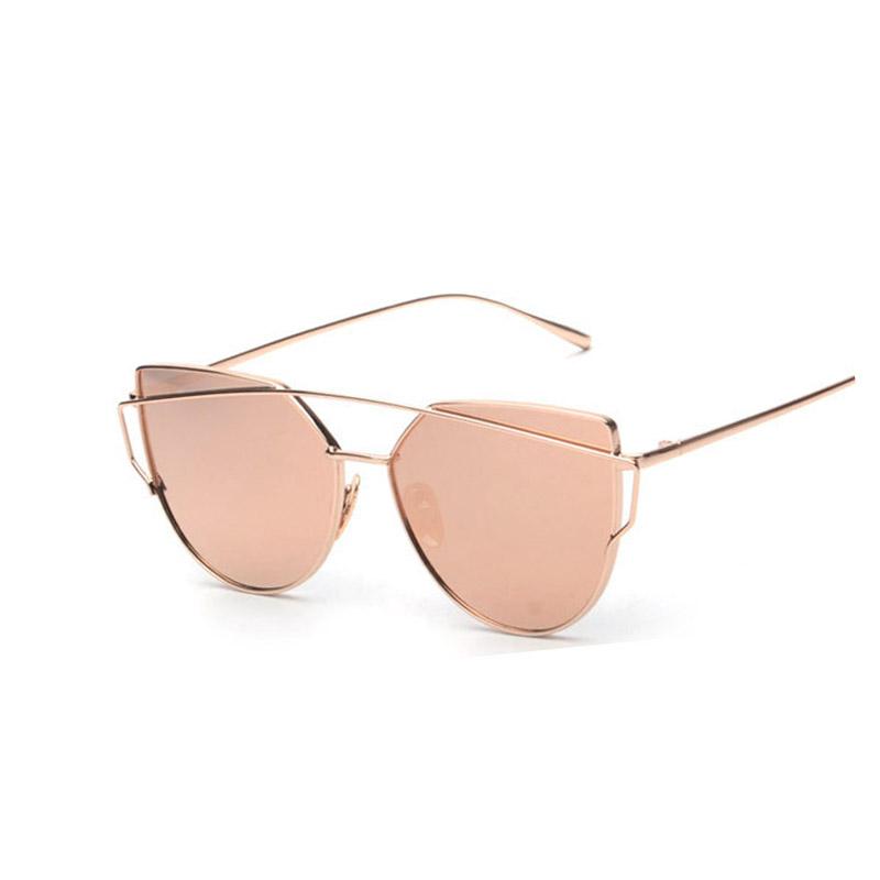 Cat Eye Sunglasses Women Vintage Fashion Metal Frame Mirror Sun Glasses Flat sun glasses Ladies Sunglasses UV400(China (Mainland))