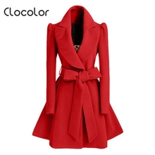 Clocolor Elegant Vintage Brief Red Wool Coat Female Autumn Winter Turn Down Collar V Neck Women Jacket  Long Coat with Sashes