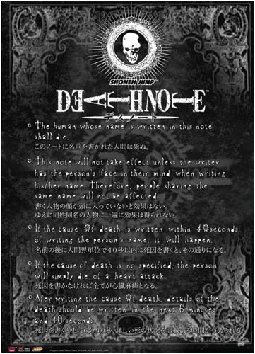 Home Decoration Death Note Rule Poster 27x40cm Wall Sticker(China (Mainland))