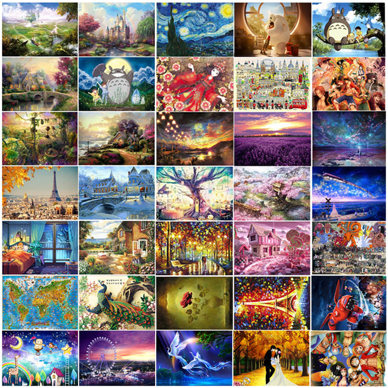 2015 Hot Sale Adult 1000 pieces jigsaw Landscape Cartoon puzzle with a picture Children educational Toy Christmas Gift P024(China (Mainland))