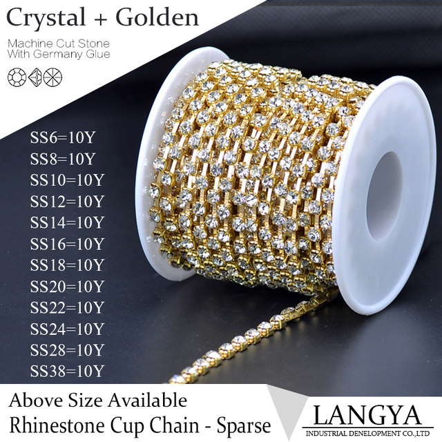 Wholesale Bright High Quality Sparse Claw Golden Base SS28 Crystal Rhinestone Cup Chain For Wedding Dress