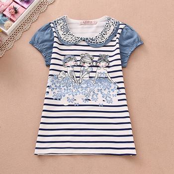 7-16Y 2016 New Brand Girls T-shirt Short Sleeve Top Summer Baby Girl T Shirt Tshirts Kids Children Clothing Garcon