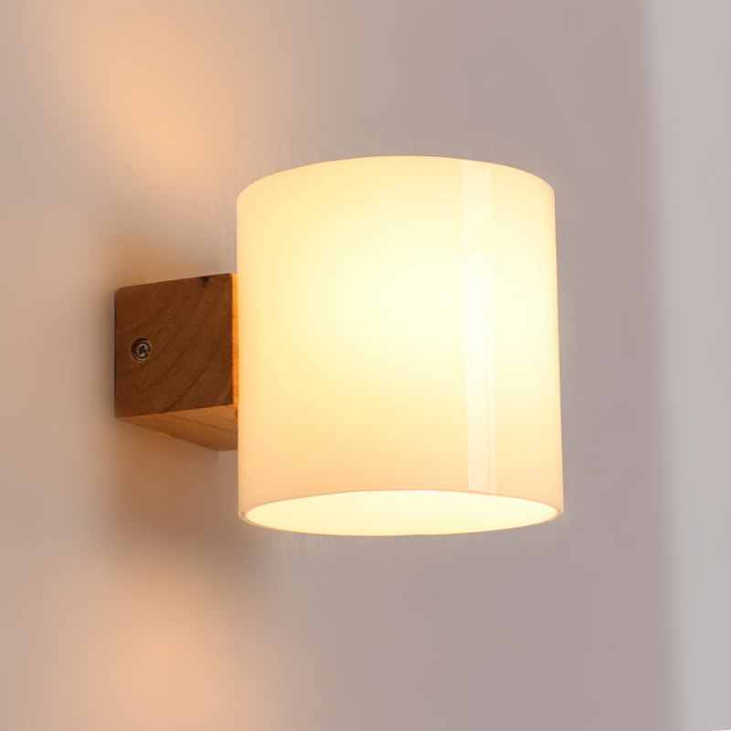 Wall Lights Lampshades : Simple Modern Solid Wood Sconce LED Wall Lights For Home Bedroom Bedside Wall Lamp Indoor ...
