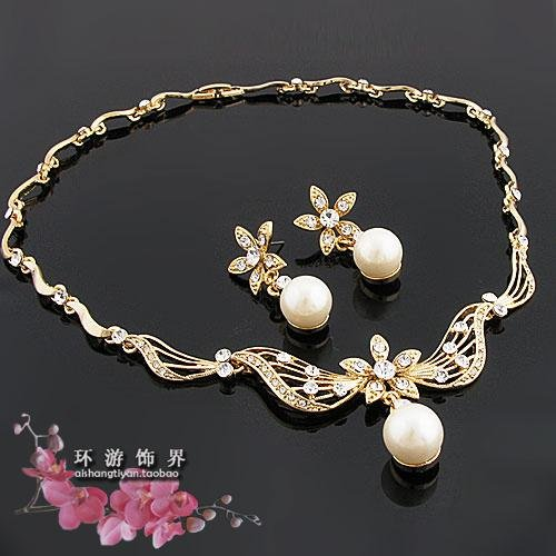 Gold pearl diamond jewelry sets necklace set pendant for for Diamond pearl jewelry sets