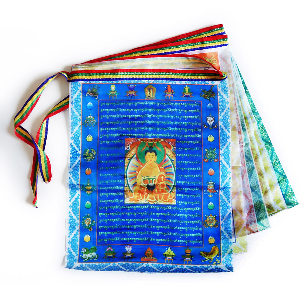 Tibetan Buddhist prayer flags,Sutra streamer,contain 10 flags,Tibet style decorative flag,Total length 3meters, clear pattern(China (Mainland))