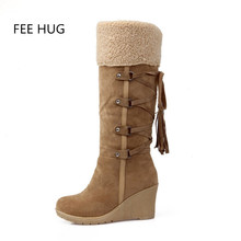 Buy 2016 Fashion Scrub Plush Snow Boots Women Wedge Knee High Slip-Resistant Boots Therm Female Cotton-Padded Shoes Warm Euro 43 for $28.88 in AliExpress store