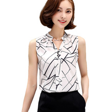 Blusas Korean Fashion Clothing 2016 Summer Womens Sleeveless White Chiffon Blouse Shirt Ladies Tops V-Neck Female Plus Size