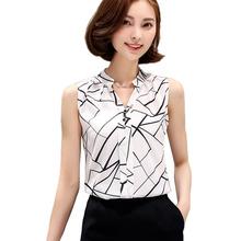Blusas Korean Fashion Clothing 2016 Summer Womens Sleeveless White Chiffon Blouse Shirt Ladies Tops V-Neck Female Plus Size