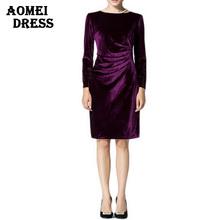 Women Wine Redding Shift Dresses Winter Velvet Warm Vestidos Robes Long Sleeves brieft Knee Length Office Work Plus size Dress(China (Mainland))