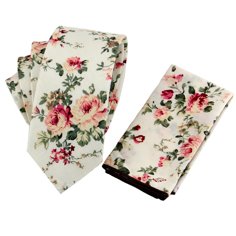Fashion Wedding Floral & Paisley Cotton & Polyester Silk Tie & Handkerchief Set Pocket Square & Neck Ties for Mens Suit Neckwear(China (Mainland))