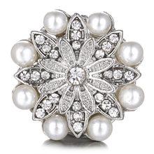 18 przyciski zatrzaskowe mm Vintage fioletowy kryształ kwiat pasuje bransoletka Snap Snap biżuteria biżuteria wesele prezent hurtownia(China)