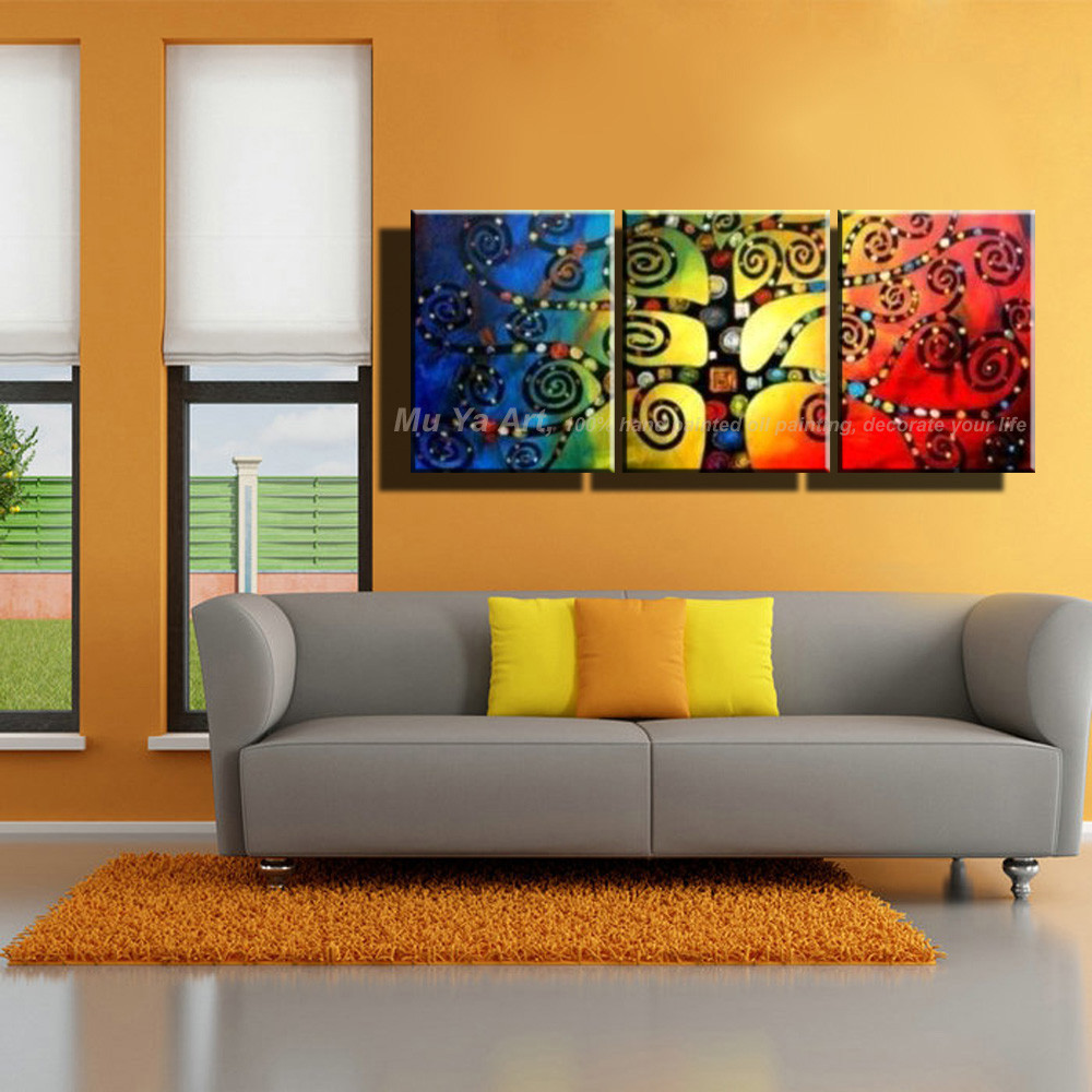 Buy Abstract modern 3 piece unframed colorful acrylic decorative picture knife canvas oil painting for living room bedroom decor cheap