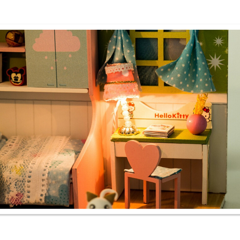 Handmade DIY Picket Doll Home Toys for Kids's New Yr Birthday Reward,New Type Miniature Dollhouse with Furnishings
