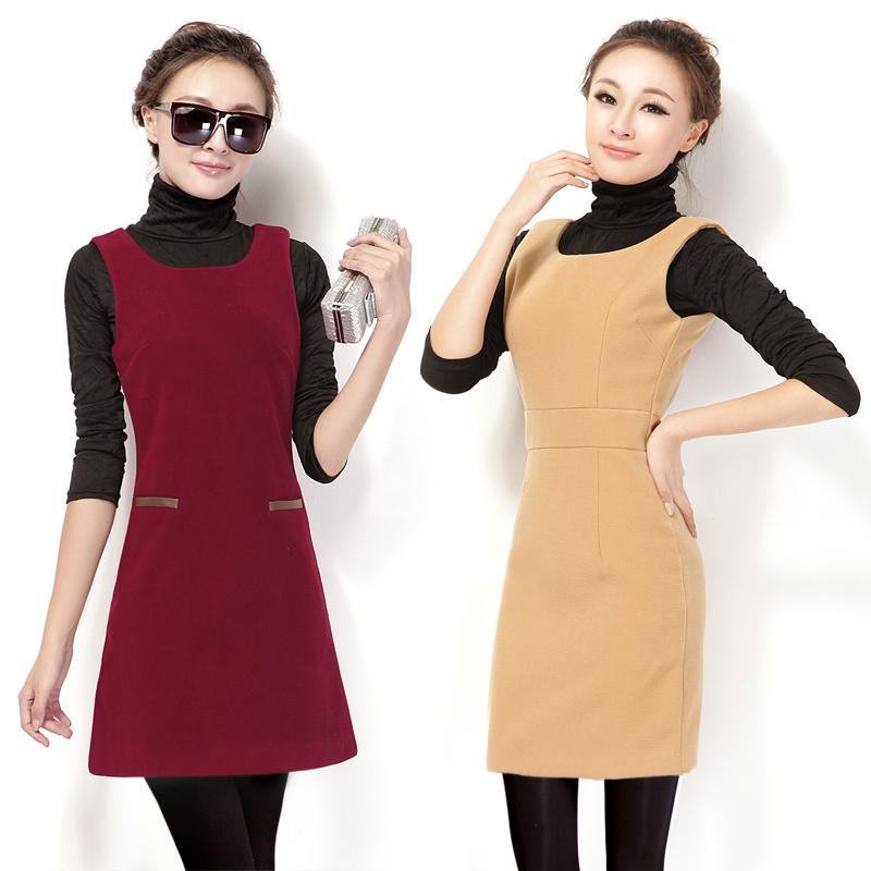 2012 women's woolen one-piece dress sleeveless tank match autumn winter - Working For Customer store