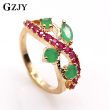 Buy GZJY Exquisite Jewelry Red CZ&Green AAA Cubic Zirconia Crystal Gold Color Ring Women 2colors G05-1 for $6.83 in AliExpress store