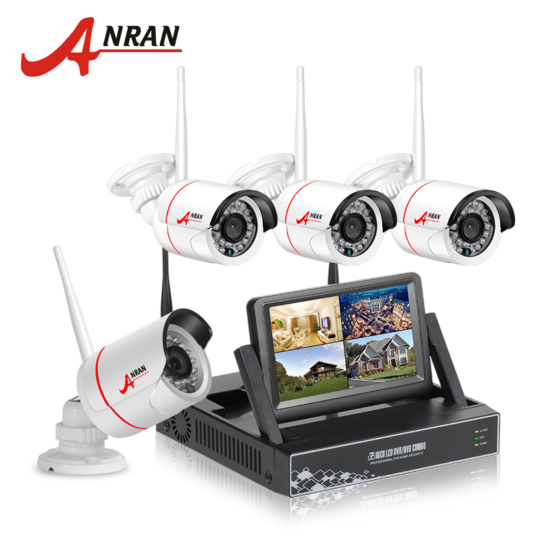 """ANRAN New Listing Plug and Play Wireless Security System 4CH 7"""" LCD NVR Kit 1TB HDD 720P HD Outdoor IP WIFI Surveillance Camera(China (Mainland))"""