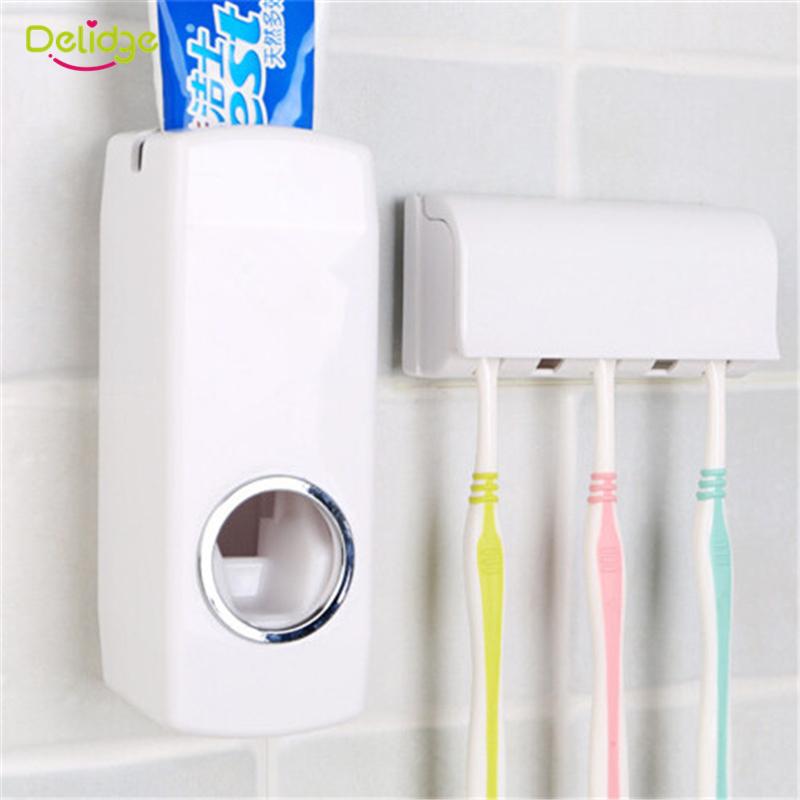 1 set Tooth Brush Holder Automatic Toothpaste Dispenser + 5 Toothbrush Holder Toothbrush Wall Mount Stand Bathroom Tools(China (Mainland))