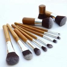 11PCS Professional Bamboo Makeup Brushes Set Eye Shadow Eyebrow Eyeliner Foundation Soft Blusher Kabuki Cosmetic Brush Set