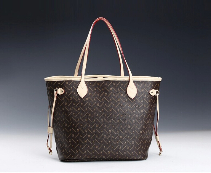 Free shipping personal Tailor high quality oxidize real leather handbag Neverfull damier Mon monogram women shoulder bags 40156(China (Mainland))