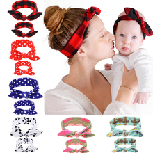 2Pcs/Set Mommy and me Matching Headbands Photo Prop Gift for Mom and Baby Rabbit Ears Elastic Cloth Bowknot Headband Accessories