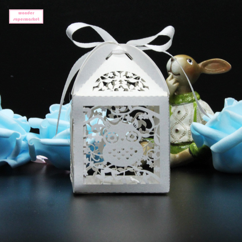 50pcs laser cut owl cartoon candy box souvenirs baby for Application box decoration