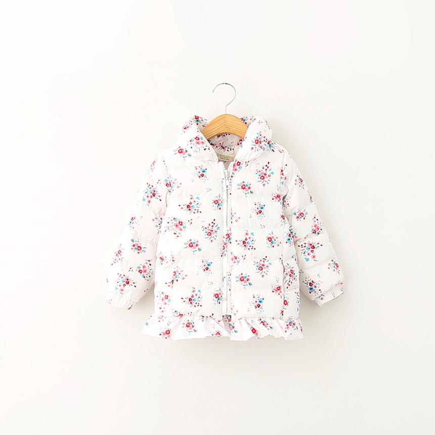 Baby Girls Winter Flower Korean Coats Children Outerwear Floral Clothing Toddler Kids Fashion Down Parkas Clothes 5pcs/LOT<br><br>Aliexpress