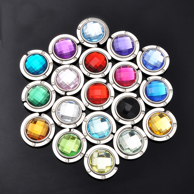 Free Shipping 20 Colors Portable bag hook Round foldable Bag Hanger/Purse Hook/Handbag Holder with  Mix Fashion Crystal  20 pcs