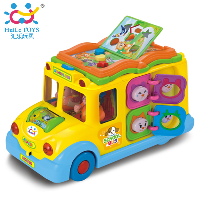 New Huile Toys Educational Musical Yellow School Bus Bump and Go, Headlights, Music and Games ,Electric School Bus Free Shipping(China (Mainland))